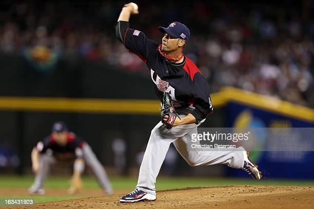 Ryan Vogelsong of USA throws a pitch in the first inning against Italy during the World Baseball Classic First Round Group D game at Chase Field on...