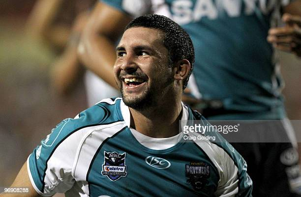 Ryan Walker of the Panthers celebrates scoring a try during the NRL trial match between the Penrith Panthers and the Parramatta Eels at CUA Stadium...