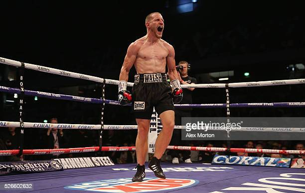 Ryan Walsh celebrates victory over James Tennyson after their British Featherweight Championship contest at Copper Box Arena on April 30 2016 in...