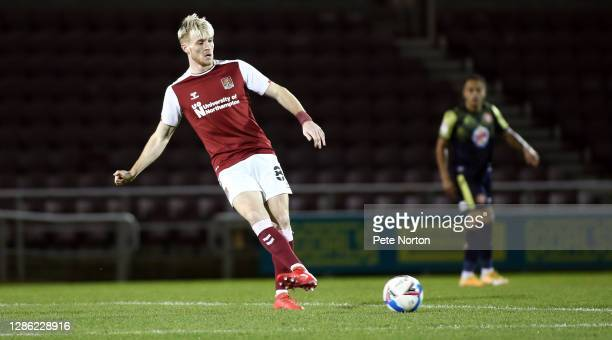 Ryan Watson of Northampton Town in action during the Papa John's Trophy match between Northampton Town and Stevenage at PTS Academy Stadium on...
