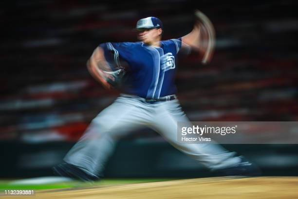Ryan Weathers of San Diego Padres pitches in the 3rd inning during a friendly game between San Diego Padres and Diablos Rojos at Alfredo Harp Helu...