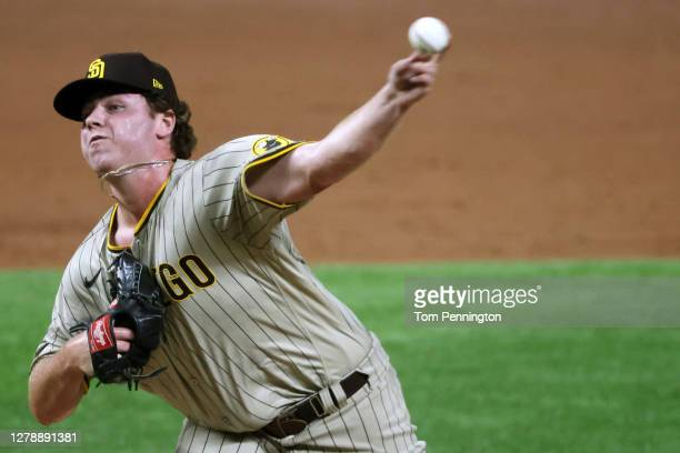 Ryan Weathers of the San Diego Padres pitches against the Los Angeles Dodgers in his first MLB game during Game One of the National League Divisional...