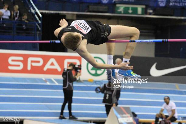 Ryan Webb competes during the Men's high jump at the British Indoor Championships in Birmingham