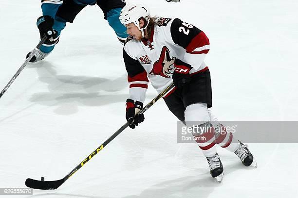 Ryan White of the Arizona Coyotes skates during a NHL game against the San Jose Sharks at SAP Center at San Jose on November 29, 2016 in San Jose,...