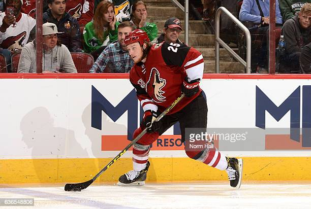 Ryan White of the Arizona Coyotes skates with the puck against the Edmonton Oilers at Gila River Arena on December 21 2016 in Glendale Arizona