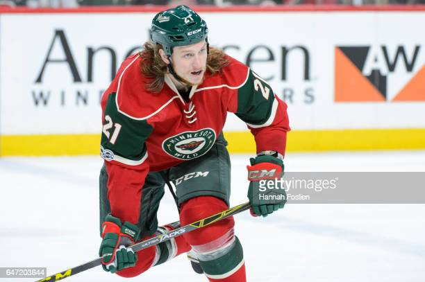 Ryan White of the Minnesota Wild looks on during the third period of the game against the Los Angeles Kings on February 27 2017 at Xcel Energy Center...