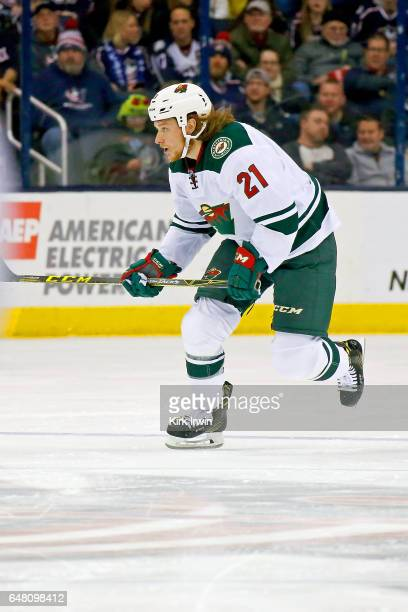 Ryan White of the Minnesota Wild skates after the puck during the game against the Columbus Blue Jackets on March 2 2017 at Nationwide Arena in...