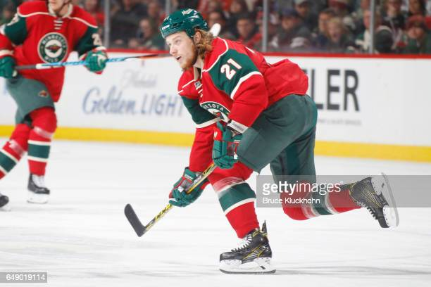 Ryan White of the Minnesota Wild skates against the Los Angeles Kings during the game on February 27 2017 at the Xcel Energy Center in St Paul...