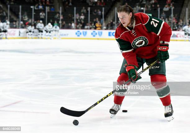 Ryan White of the Minnesota Wild warms up before the game against the Los Angeles Kings on February 27 2017 at Xcel Energy Center in St Paul Minnesota