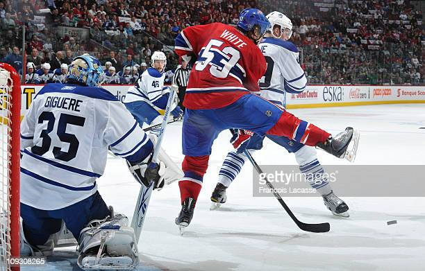 Ryan White of the Montreal Canadiens blocks goalie JeanSebastien Giguere of the Toronto Maple Leafs view during the NHL game on February 12 2011 at...