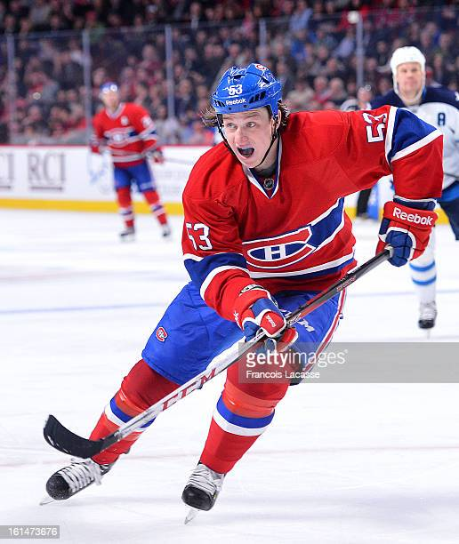 Ryan White of the Montreal Canadiens skates against the Winnipeg Jets during the NHL game on January 29 2013 at the Bell Centre in Montreal Quebec...