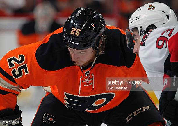 Ryan White of the Philadelphia Flyers prepares for a faceoff against Mike Zibanejad of the Ottawa Senators on April 2 2016 at the Wells Fargo Center...