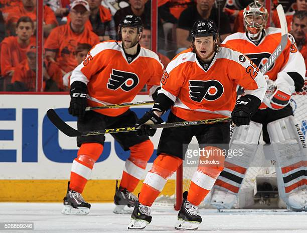 Ryan White of the Philadelphia Flyers skates against the Washington Capitals in Game Six of the Eastern Conference First Round during the 2016 NHL...