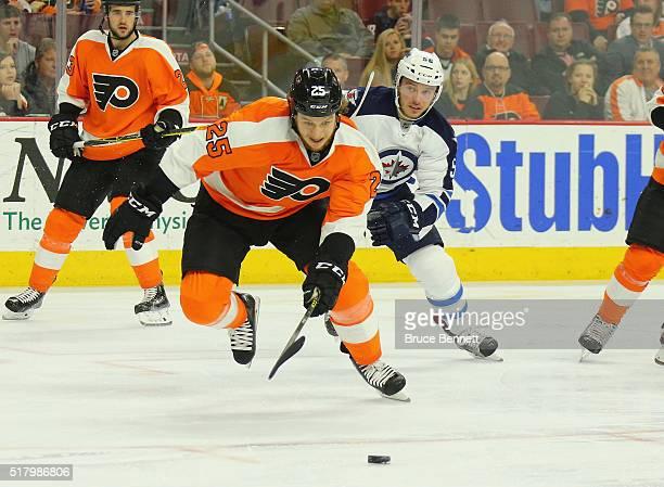 Ryan White of the Philadelphia Flyers skates against the Winnipeg Jets at the Wells Fargo Center on March 28 2016 in Philadelphia Pennsylvania The...