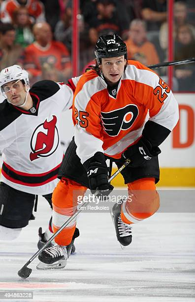 Ryan White of the Philadelphia Flyers skates with the puck against the New Jersey Devils on October 29 2015 at the Wells Fargo Center in Philadelphia...