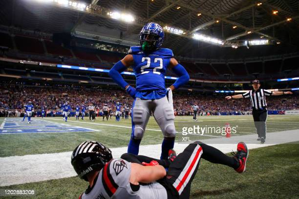 Ryan White of the St Louis BattleHawks reacts to a play during the XFL game against the New York Guardians at The Dome at America's Center on...