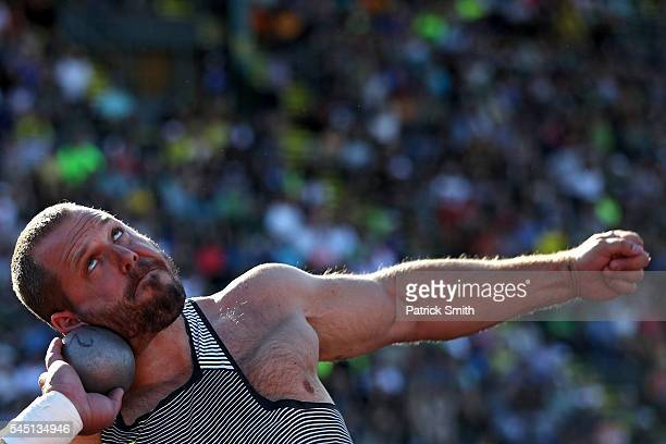 Ryan Whiting participates in the Men's Shot Put Final during the 2016 US Olympic Track Field Team Trials at Hayward Field on July 1 2016 in Eugene...