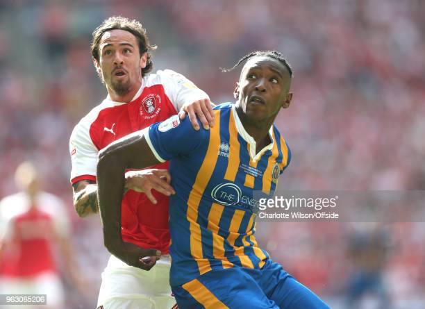 Ryan Williams of Rotherham and Omar Veckles of Shrewsbury look up for the ball during the Sky Bet League One Play Off Semi FinalSecond Leg between...
