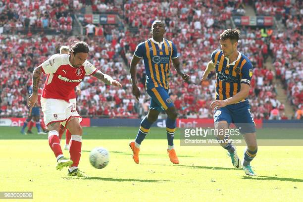 Ryan Williams of Rotherham has a shot during the Sky Bet League One Play Off Semi FinalSecond Leg between Rotherham United and Scunthorpe United at...