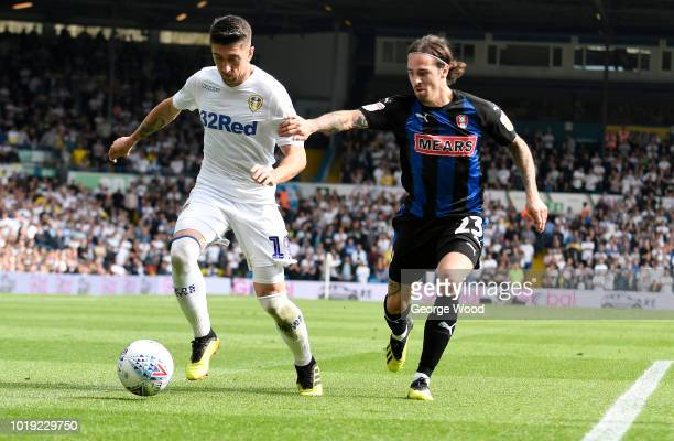 Ryan Williams of Rotherham United and Pablo Hernandez of Leeds United compete for the ball during the Sky Bet Championship between Leeds United and...