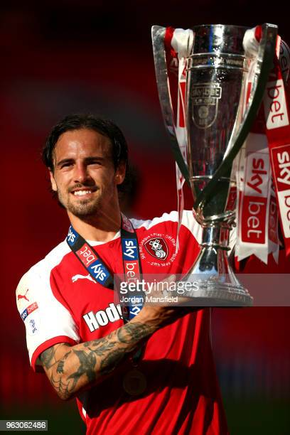 Ryan Williams of Rotherham United celebrates victory with the trophy after the Sky Bet League One Play Off Final between Rotherham United and...