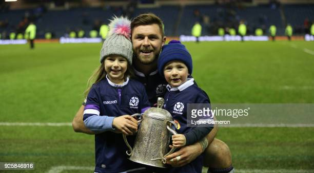 Ryan Wilson of Scotland and family with The Calcutta Cup after the NatWest Six Nations Championship between Scotland and England at Murrayfield on...
