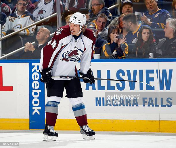 Ryan Wilson of the Colorado Avalanche prepares for a faceoff against the Buffalo Sabres at First Niagara Center on October 19 2013 in Buffalo New York