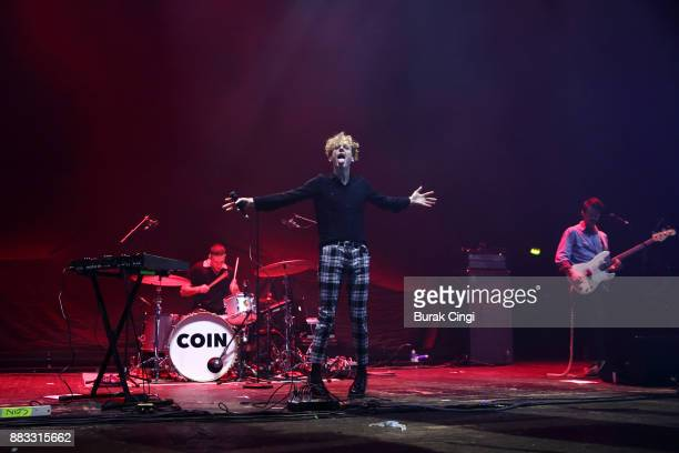 Ryan Winnen, Chase Lawrence and Zachary Dyke of Coin perform at O2 Academy Brixton on November 30, 2017 in London, England.