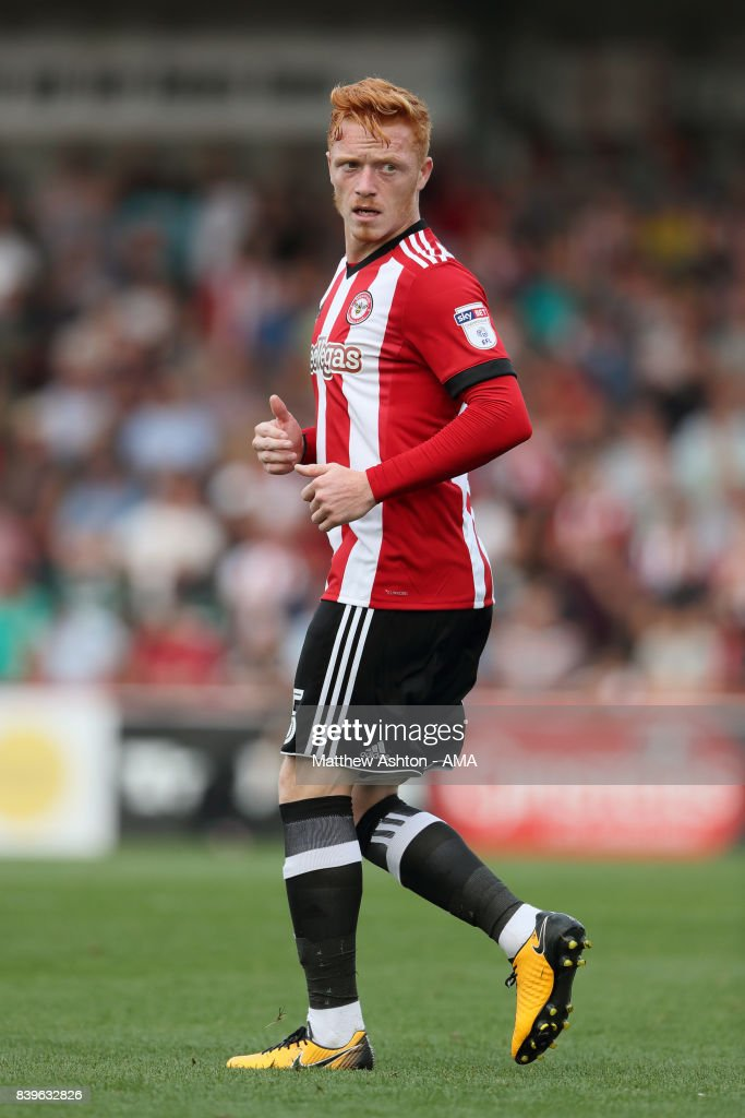 Ryan Woods of Brentford during the Sky Bet Championship match between Brentford and Wolverhampton Wanderers at Griffin Park on August 26, 2017 in Brentford, England.