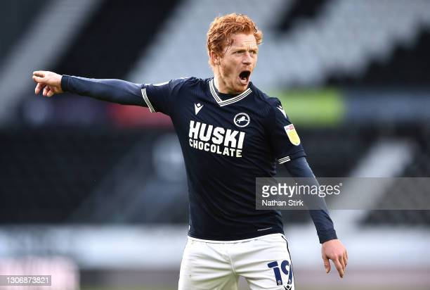 Ryan Woods of Millwall FC gestures during the Sky Bet Championship match between Derby County and Millwall at Pride Park Stadium on March 13, 2021 in...