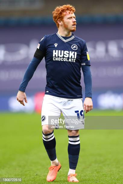 Ryan Woods of Millwall FC looks on during the Sky Bet Championship match between Millwall and Sheffield Wednesday at The Den on February 06, 2021 in...