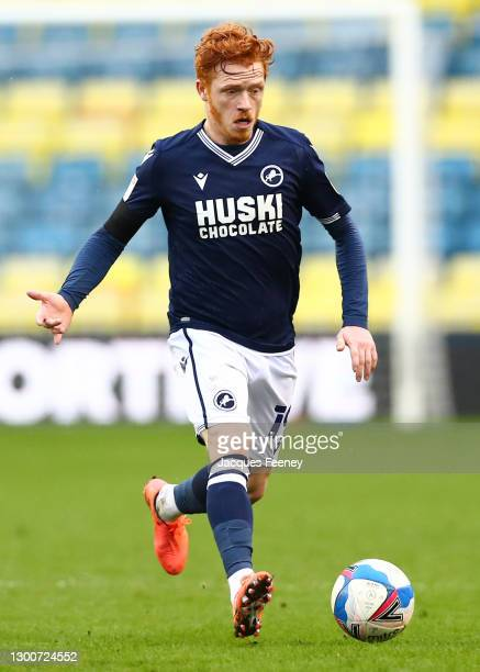 Ryan Woods of Millwall FC runs with the ball during the Sky Bet Championship match between Millwall and Sheffield Wednesday at The Den on February...