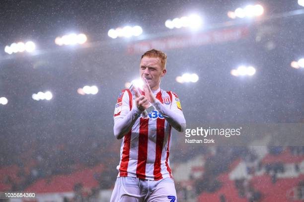 Ryan Woods of Stoke City claps the fans after winning the Man of the Match award during the Sky Bet Championship match between Stoke City and Swansea...