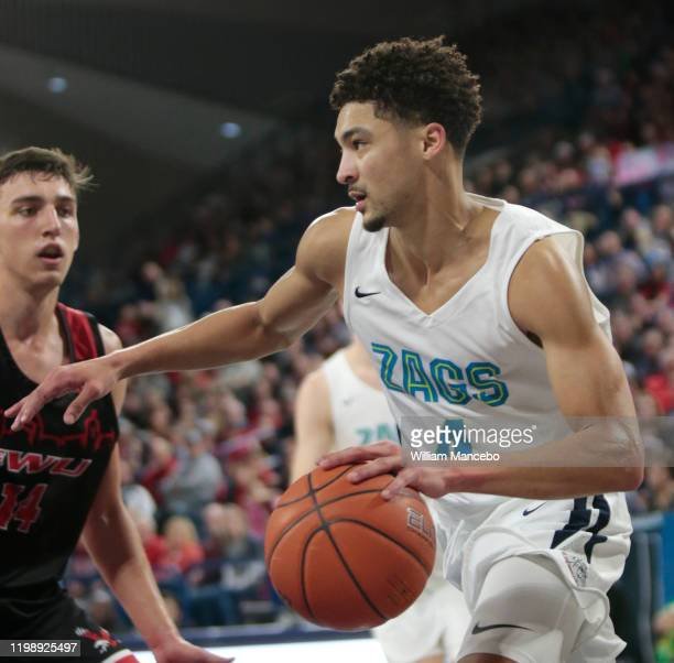 Ryan Woolridge of the Gonzaga Bulldogs drives against the Eastern Washington Eagles in the first half at McCarthey Athletic Center on December 21,...
