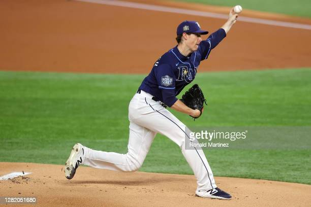 Ryan Yarbrough of the Tampa Bay Rays delivers the pitch against the Los Angeles Dodgers during the first inning in Game Four of the 2020 MLB World...
