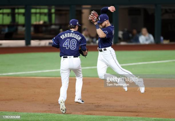 Ryan Yarbrough of the Tampa Bay Rays makes the catch against the Los Angeles Dodgers during the second inning in Game Four of the 2020 MLB World...