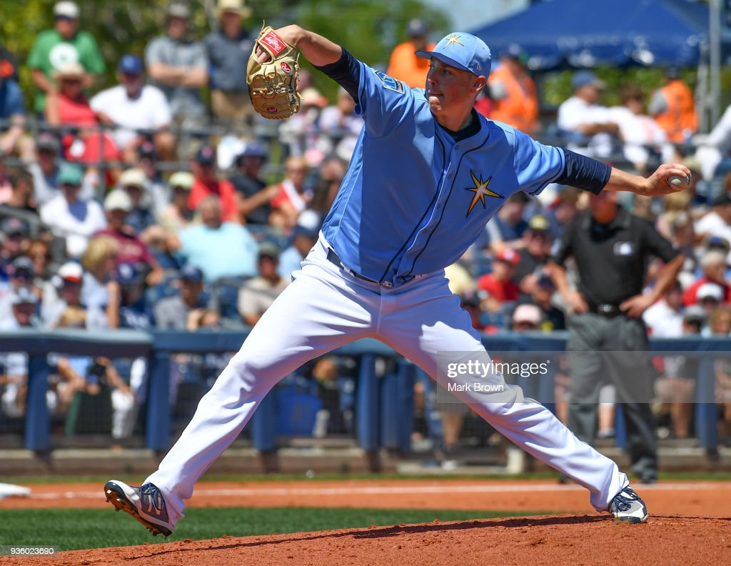 Ryan Yarbrough #48 of the Tampa Bay Rays pitches in the second inning during the spring training game between the Tampa Bay Rays and the Boston Red Sox at Charlotte Sports Park on March 21, 2018 in Port Charlotte, Florida.