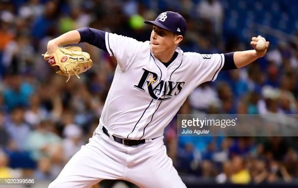 Ryan Yarbrough of the Tampa Bay Rays throws a pitch against the Kansas City Royals in a baseball game on August 20 2018 at Tropicana Field in St...