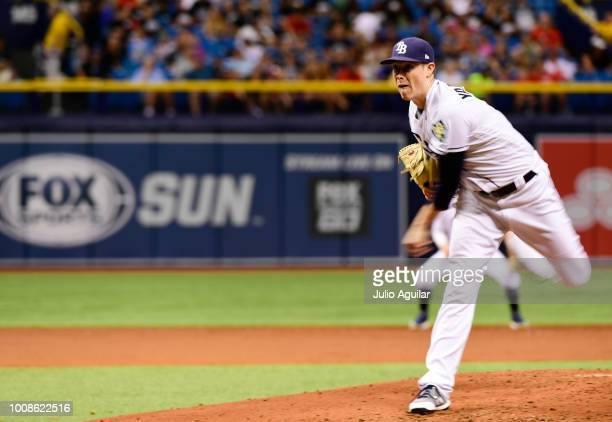 Ryan Yarbrough of the Tampa Bay Rays throws a pitch in the fourth inning against the Los Angeles Angels on July 31 2018 at Tropicana Field in St...