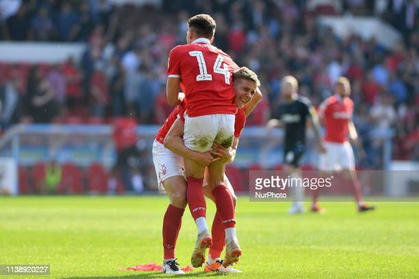 Ryan Yates of Nottingham Forest celebrates with Matthew Cash of Nottingham Forest during the Sky Bet Championship match between Nottingham Forest and...