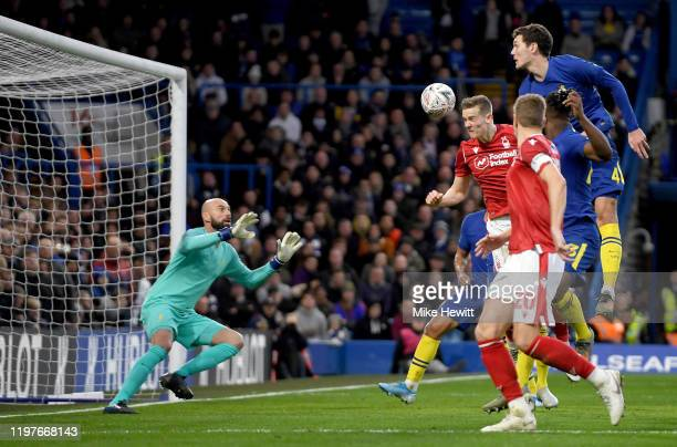 Ryan Yates of Nottingham Forest scores a goal which is disallowed for offside during the FA Cup Third Round match between Chelsea and Nottingham...
