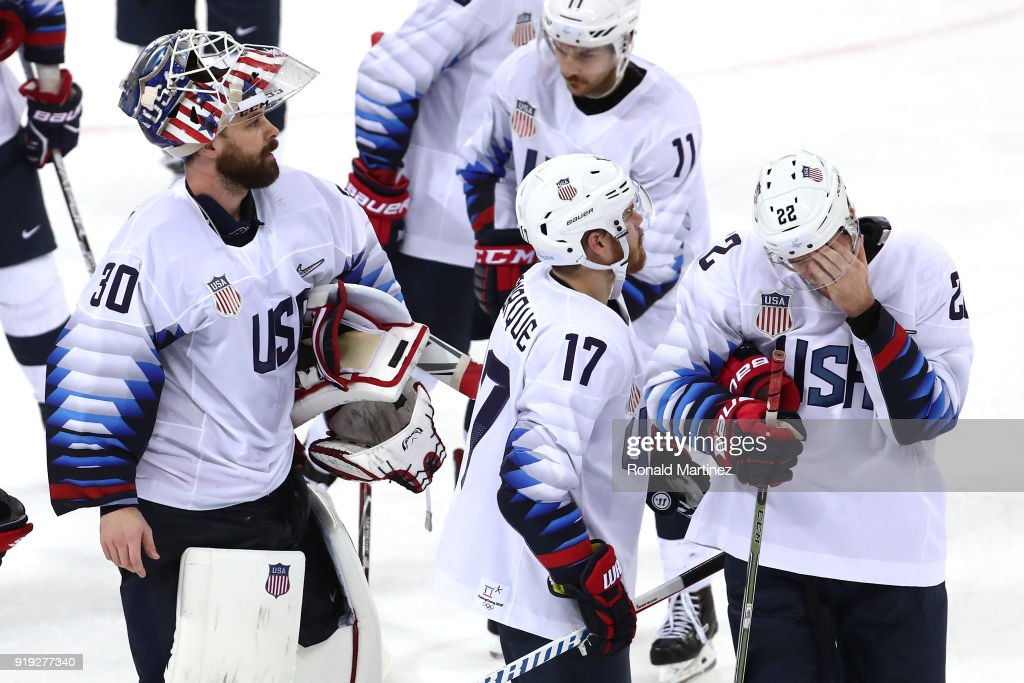 Ryan Zapolski #30, Chris Bourque #17, Garrett Roe #11 and Bobby Sanguinetti #22 of the United States react after being defeated 4-0 by Olympic Athlete from Russia during the Men's Ice Hockey Preliminary Round Group B game on day eight of the PyeongChang 2018 Winter Olympic Games at Gangneung Hockey Centre on February 17, 2018 in Gangneung, South Korea.