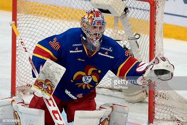 Ryan Zapolski of Jokerit in action during KHL game between Jokerit and Chinese Kunlun Red Star at Hartwall Arena in Helsinki Finland on November 12...