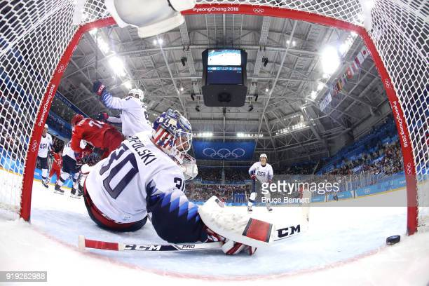 Ryan Zapolski of the United States gives up a goal to Nikolai Prokhorkin of Olympic Athlete from Russia in the first period during the Men's Ice...