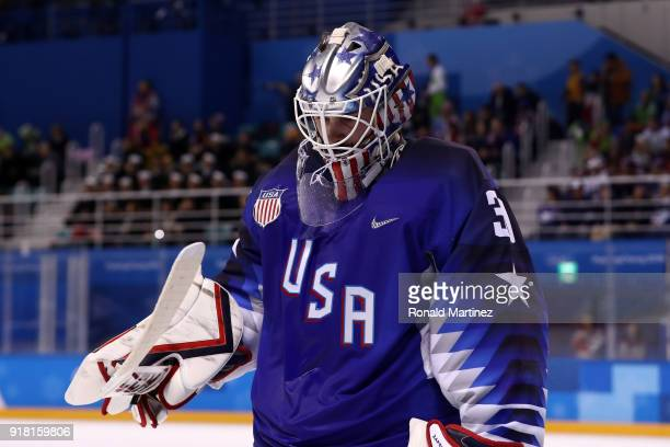 Ryan Zapolski of the United States looks on against Slovenia during the Men's Ice Hockey Preliminary Round Group B game on day five of the...