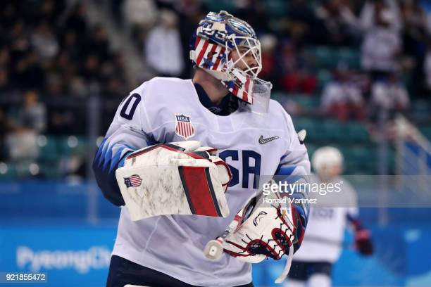 Ryan Zapolski of the United States looks on during the game against the Czech Republic in the second period during the Men's Playoffs Quarterfinals...