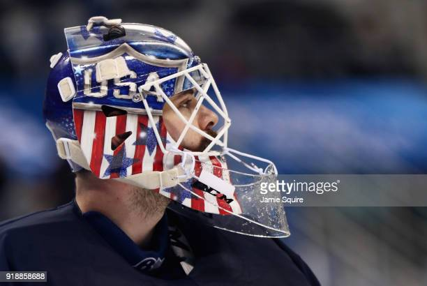 Ryan Zapolski of the United States looks on during the Men's Ice Hockey Preliminary Round Group B game against Slovakia at Gangneung Hockey Centre on...