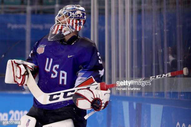 Ryan Zapolski of the United States reacts after giving up the game winning goal to Jan Mursak of Slovenia in overtime of the Men's Ice Hockey...