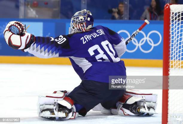 Ryan Zapolski of the United States tends goal against Slovenia during the Men's Ice Hockey Preliminary Round Group B game on day five of the...