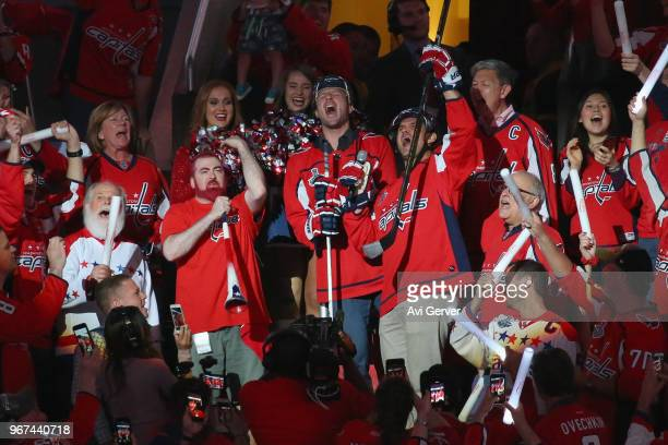 Ryan Zimmerman and Max Scherzer of the Washington Nationals cheer on the Capitals with the fans against the Vegas Golden Knights during the first...